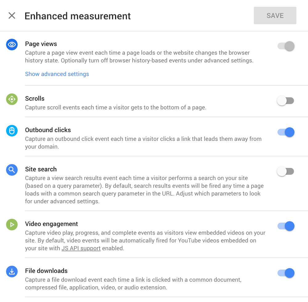 Google Analytics App + Web - Enhanced Measurement